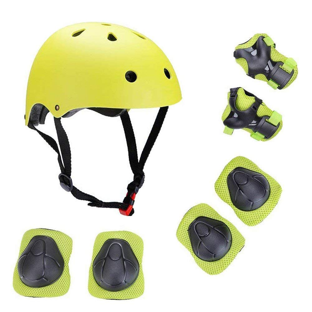 Xiana Kids Sport Protective Gear Set, Helmet and Pads of Wrist, Elbow, Knee, for Skateboarding, Skating, Scooter, Rollerblading, Cycling and Other Extreme Sports Activities (Yellow Green)
