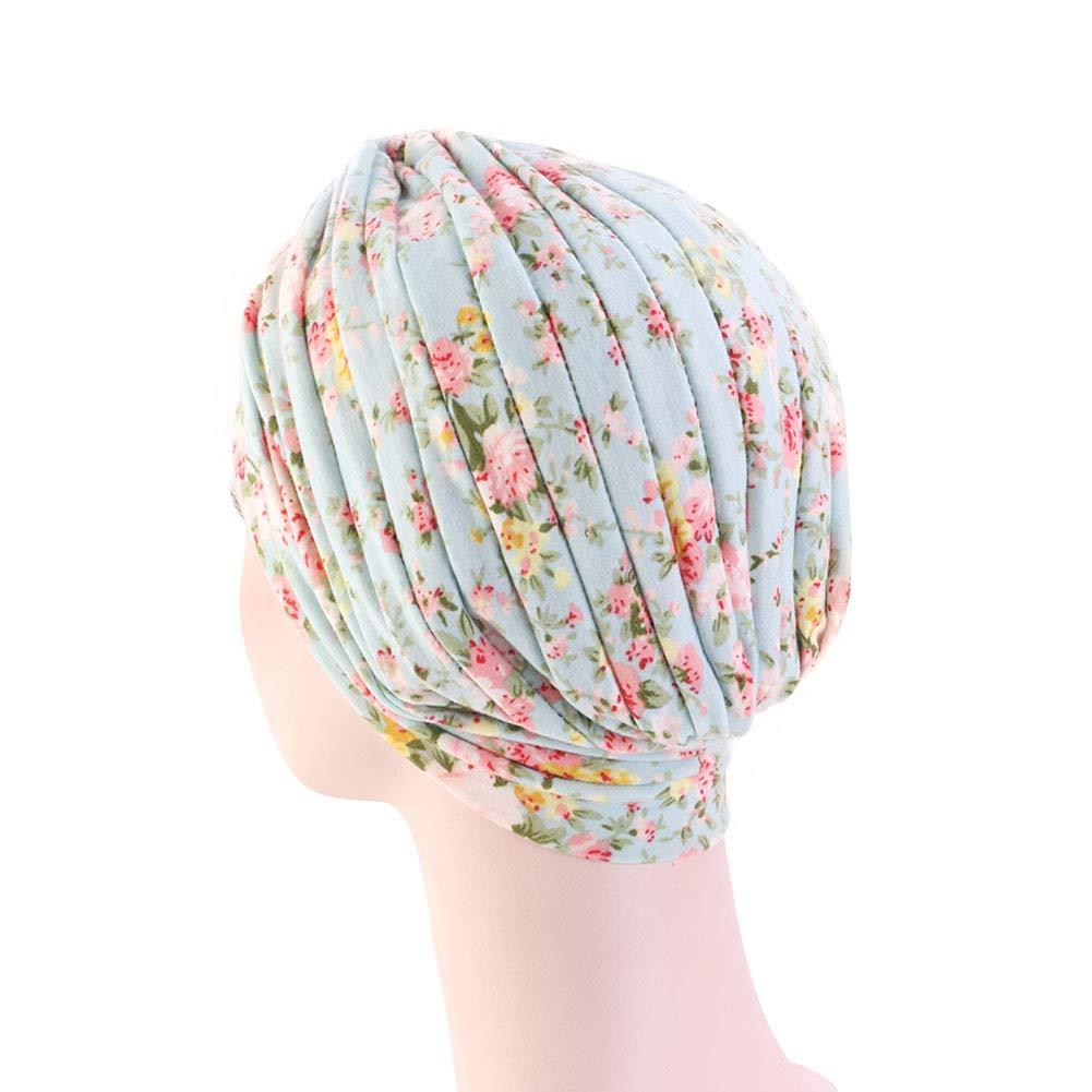 DuoZan Women/'s Cotton Turban Elastic Beanie Printing Sleep Bonnet Chemo Cap Hair Loss Hat