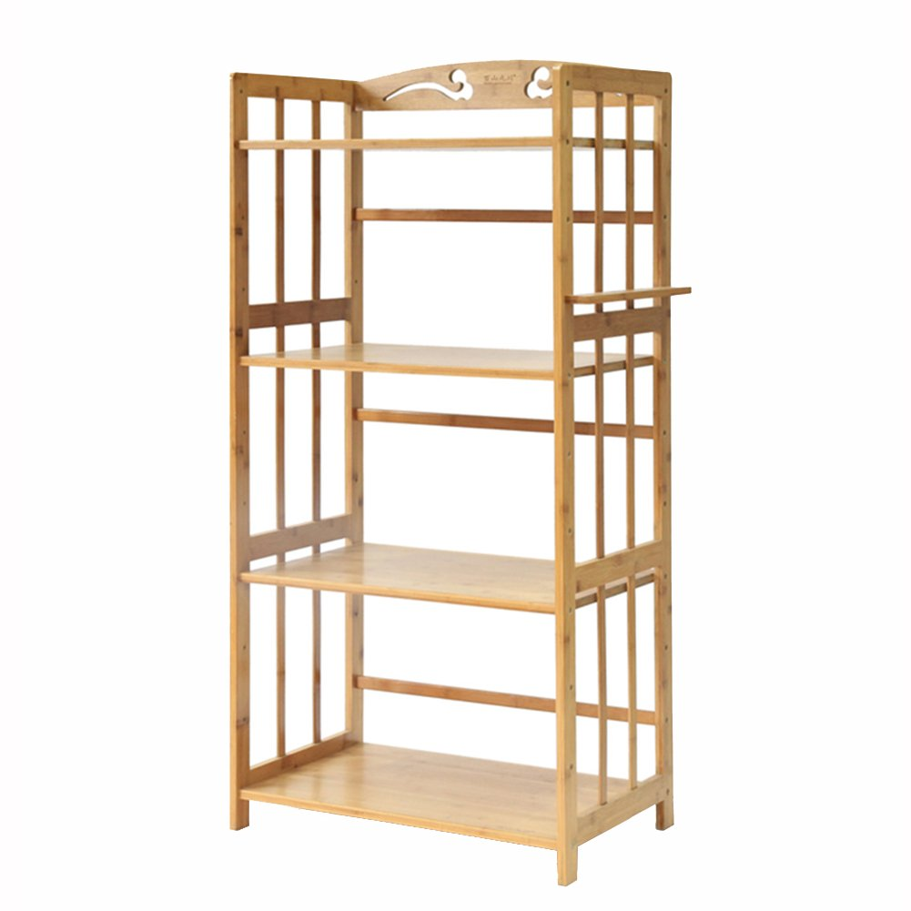 Amazon.com: Bamboo Wood Kitchen Microwave Oven Rack Floor Display Storage Holder Shelf Stand Organizer (Color : 4-Tier, Size : 52cm): Kitchen & Dining