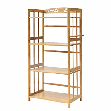 Estantes y soportes para ollas y sartenes HWF 4-Tier Kitchen Microondas Horno Rack Bamboo Wood Floor Display Display Holder Estante Soporte Organizador ...