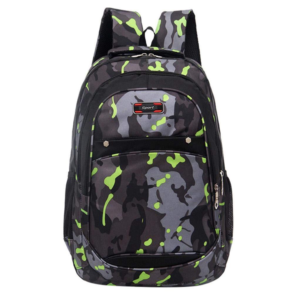 ManxiVoo Teenager Students Camouflage Print School Backpack Multi Pockets Student Bags for Children Kids Sports Hiking Travel Packsack Knapsack (Green)