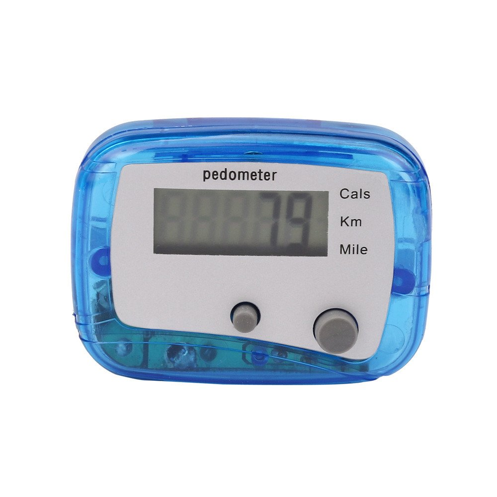 Start Digital LCD Light Portable Waterproof Pedometer Multifunction for Run Step Walking Distance Calorie Counter (Two-Button Blue)
