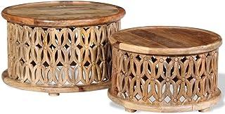 WEILANDEAL Set di 2tavolini da Salotto in Legno Massiccio di Mango Tavolino da Salotto Vetro templadopulido, da Parati e Verniciato