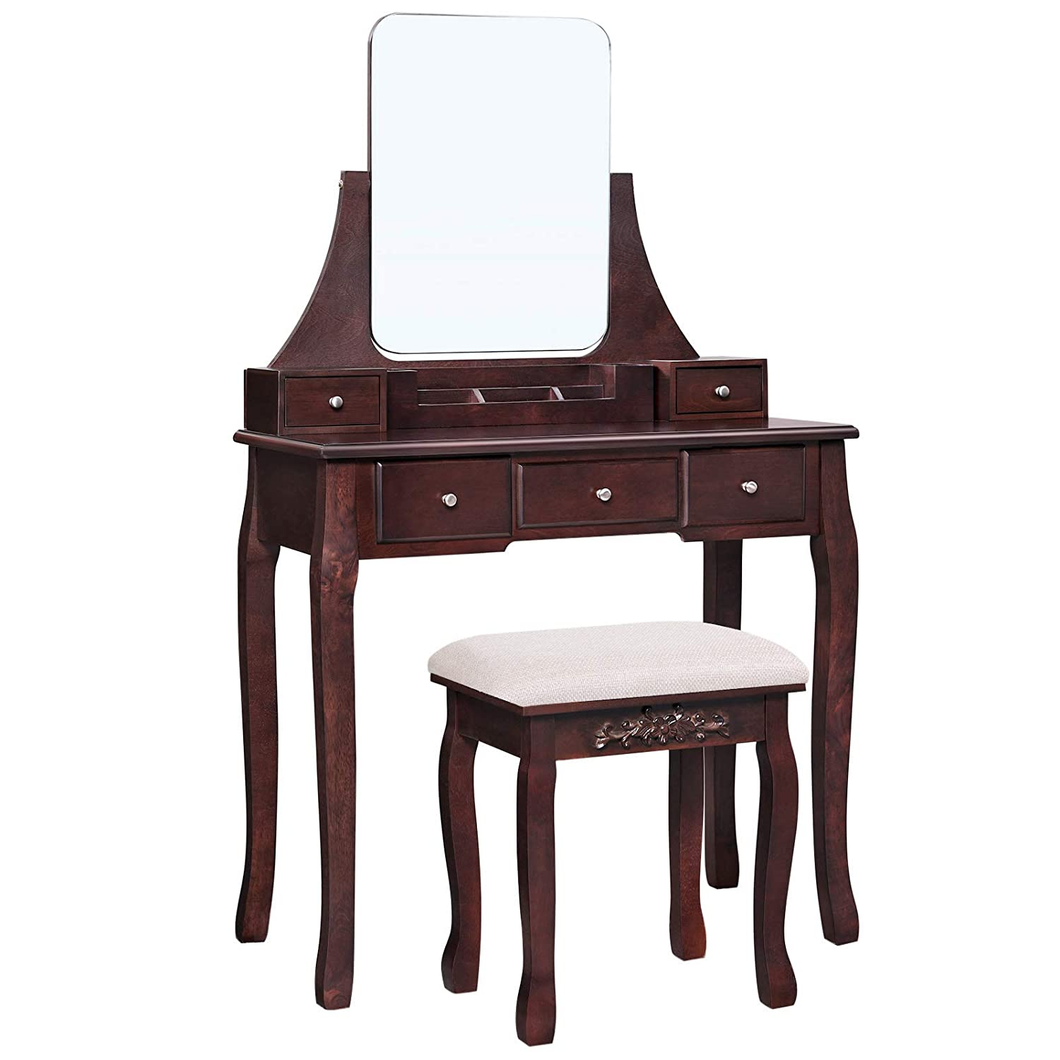 VASAGLE Vanity Table Set with Large Frameless Mirror, Makeup Dressing Table Set for Bedroom, Bathroom, 5 Drawers and 1 Removable Storage Box, Cushioned Stool, Espresso URDT25BR