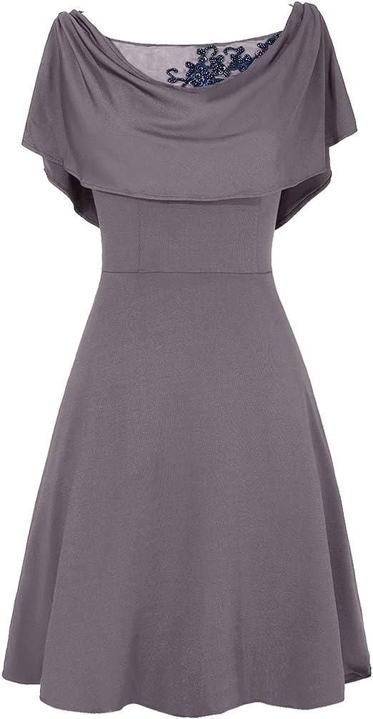Dresstells Damen A Linie Kleid Gr 44 Bordeaux Amazon De Bekleidung