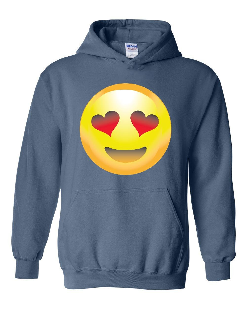 21927ad7aa5e Amazon.com  NIB Emoji Smiling Face w Heart-Shaped Eyes Unisex Hoodie Hooded  Sweatshirt  Clothing