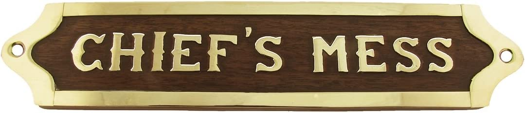 Treasure Gurus Chiefs Mess Brass Door Sign Maritime Ships Plaque