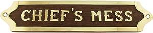 Treasure Gurus Chiefs Mess Brass Door Sign Maritime Ships Plaque