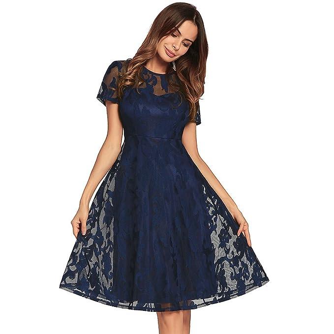 Qin&X La Mujer Cuello Redondo Manga Corta de Verano Vestido Encaje Swing Faldas,Azul Royal