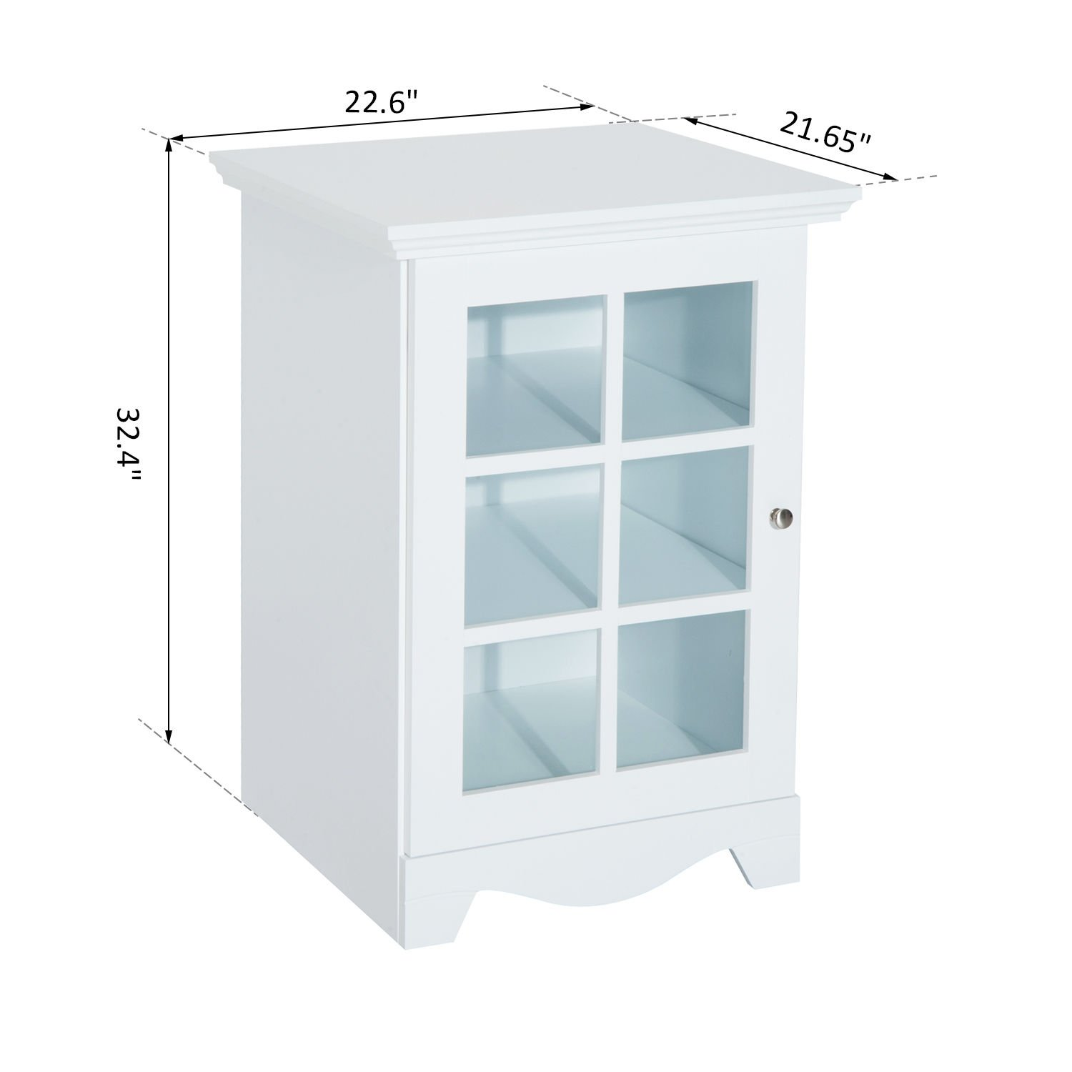 New White Wood Cabinet Storage Hutch Kitchen Bathroom Bedroom Single Glassed Door Shelves by totoshop (Image #2)