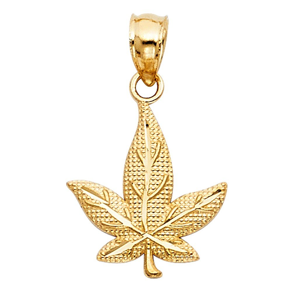 Precious Stars Jewelry 14k Yellow Gold Marijuana Leaf Pendant