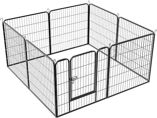 YAHEETECH 32-inch 8 Panels Metal Pet Dog Pen Foldable Exercise Fence Barrier Playpen Kennel w Door for Puppy Cat, Outdoor Indoor,Black