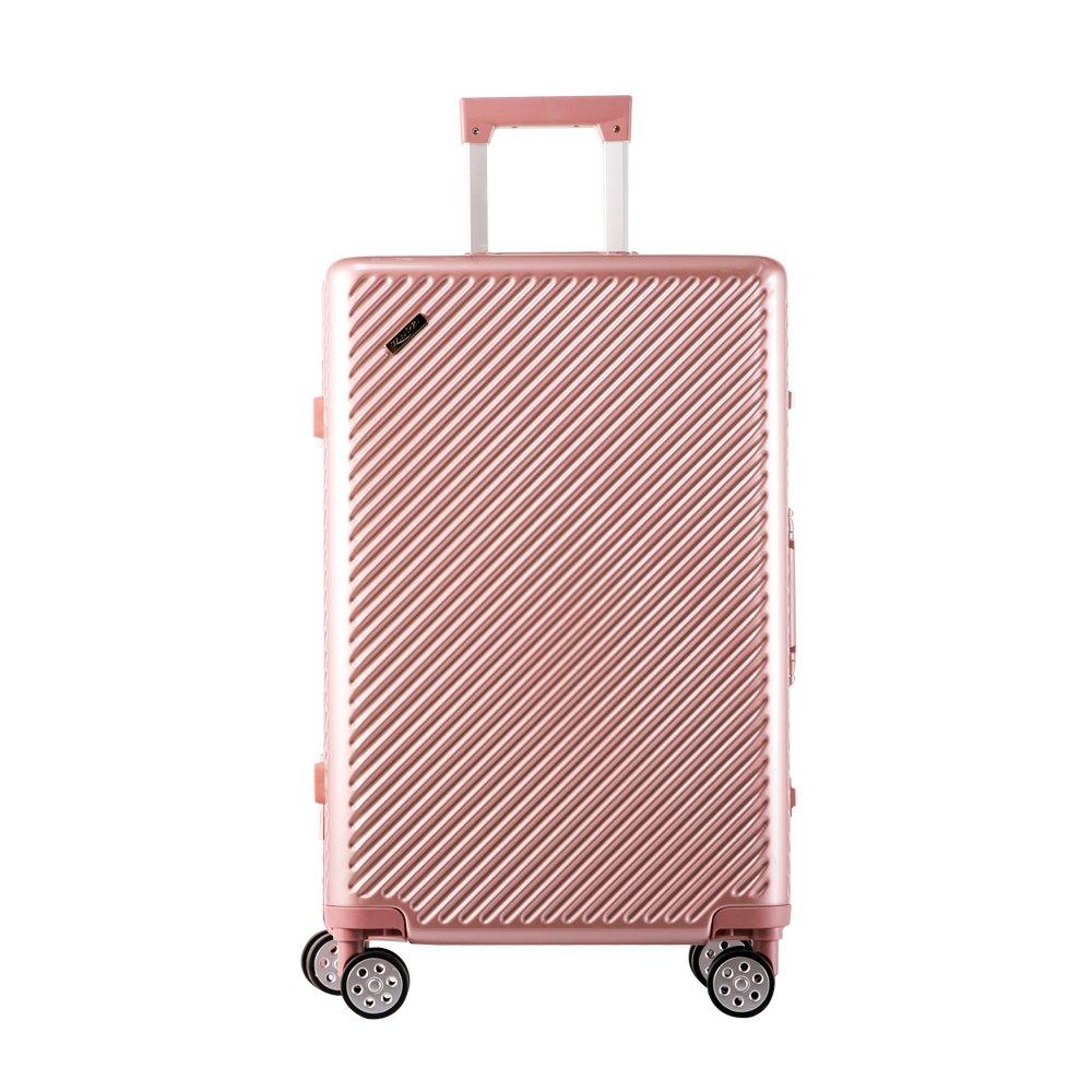TANOBI スーツケース アルミフレーム TSAロック搭載 斜め縞模様 トラベルバッグ 1年保証 B078RGGZ65 S|ピンク ピンク S