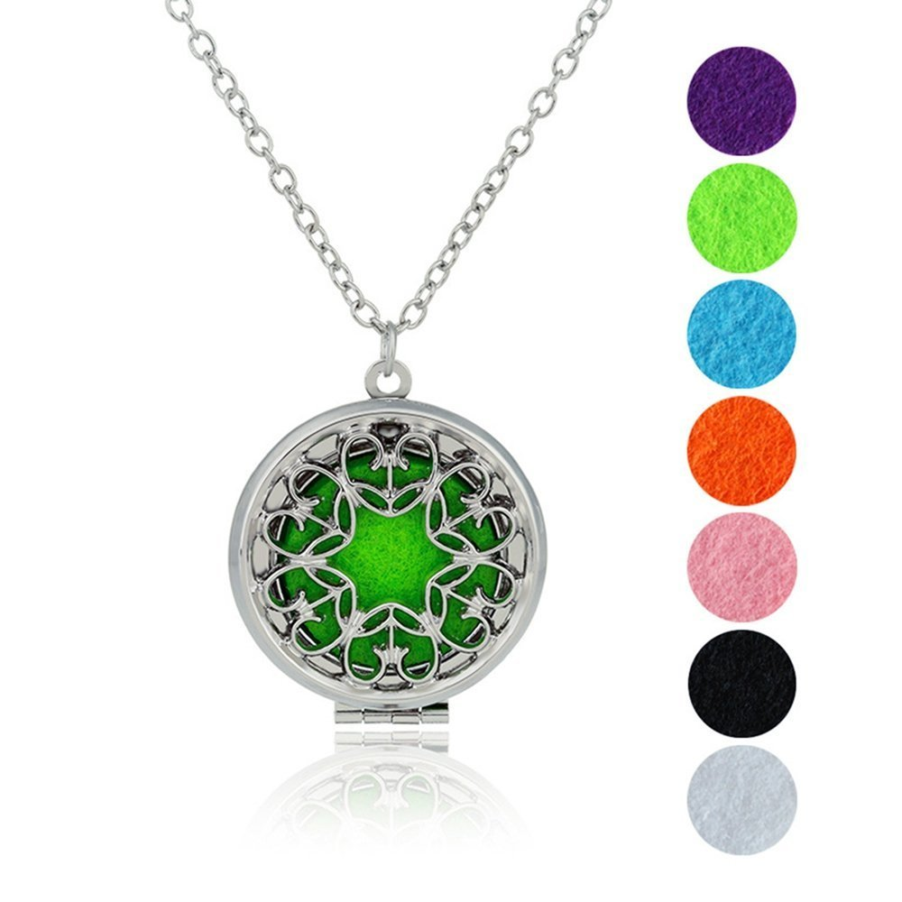 Morenitor Aromatherapy Pendant, Alloy Hollow Locket Essential Oil Necklace Jewellery Set for Women, 7 Colors Refill Pads