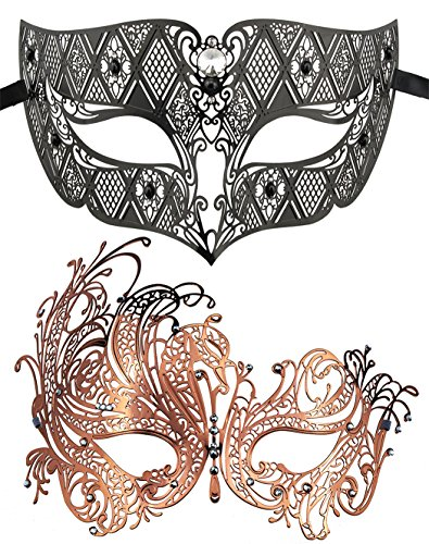 (Coddsmz 2 Pack Set Masks Masquerade Ball Halloween Costumes Mardi Gras Party Mask for Men and Women)