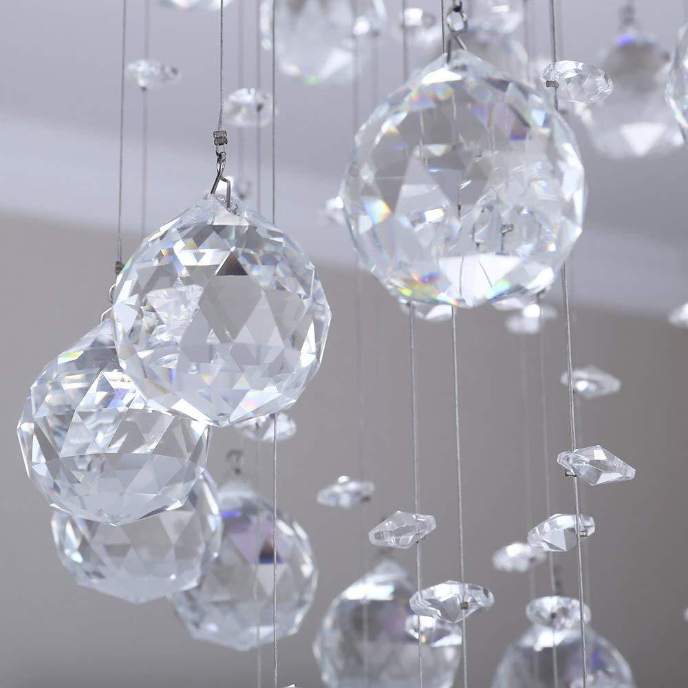 Ikakon Small Raindrop Chandeliers Flush Mount Modern Led Crystal Ceiling Lighting for Bedroom Entry Hallway