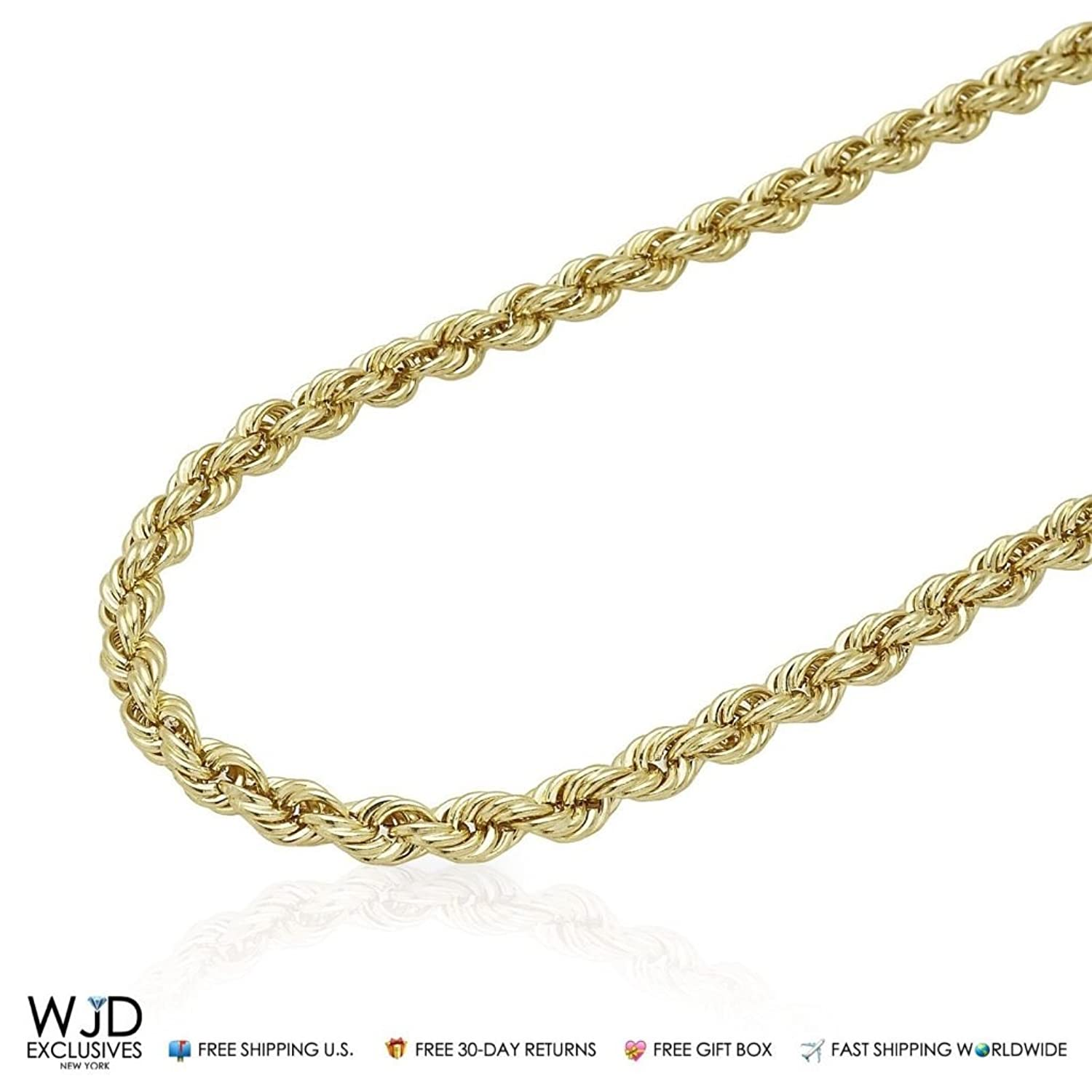 """10K Yellow Gold 5mm Rope Hollow Link Chain Necklace 20""""-32"""""""