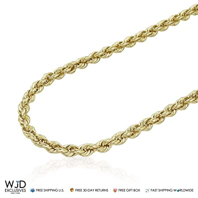 64c8a1b96ea02 Amazon.com: 10K Yellow Gold Hollow 5mm Rope Chain 20