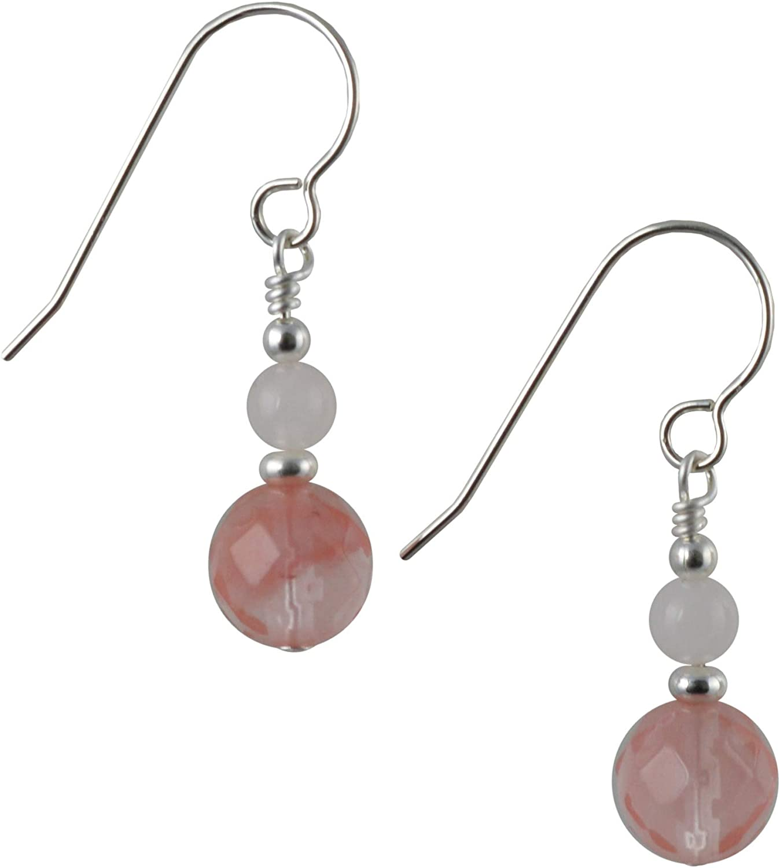 Pendientes de gota de cuarzo de cerezo facetado, cuarzo rosa y plata de ley con caja de regalo