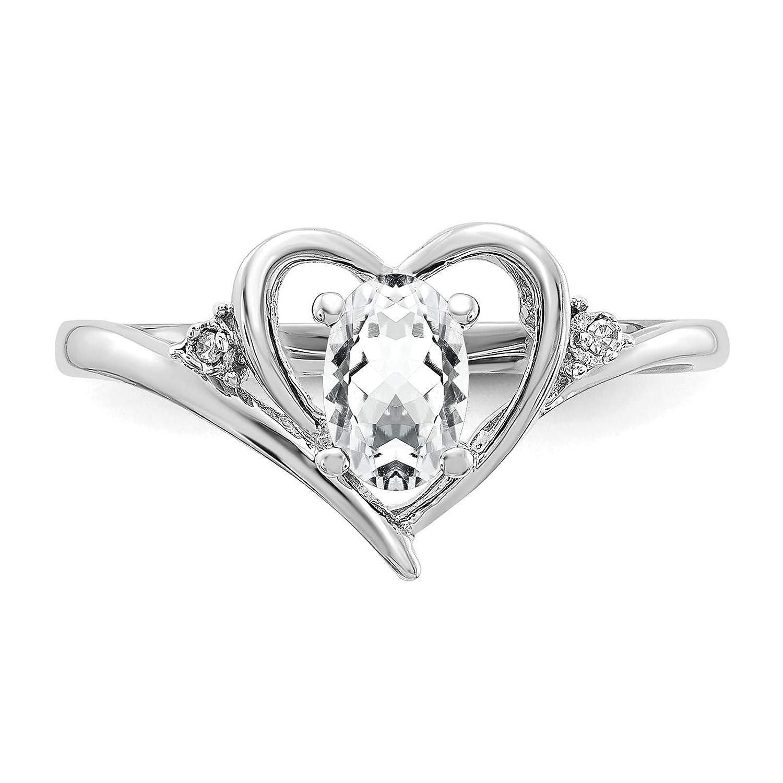 14K White Gold Diamond /& White Topaz April Stone Heart Ring Size 7
