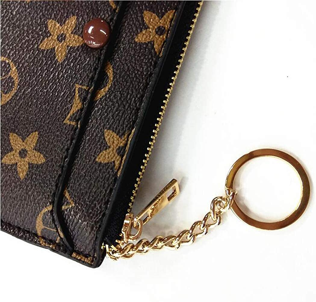 PU Vegan Leather Mini Coin Purse Wallet with clasp Coiol Luxury Zip Checkered Key Chain pouch