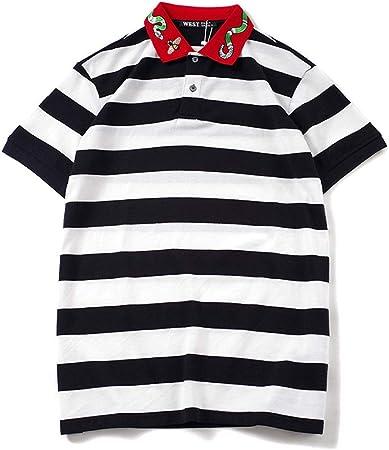 AndyJerzy-CTS Camiseta Casual de los Hombres Camisa Polo Bordada a Rayas Camiseta de Manga Corta de algodón for Hombres Camisa de los Amantes de los Estudiantes Simple y con Estilo: Amazon.es: Hogar
