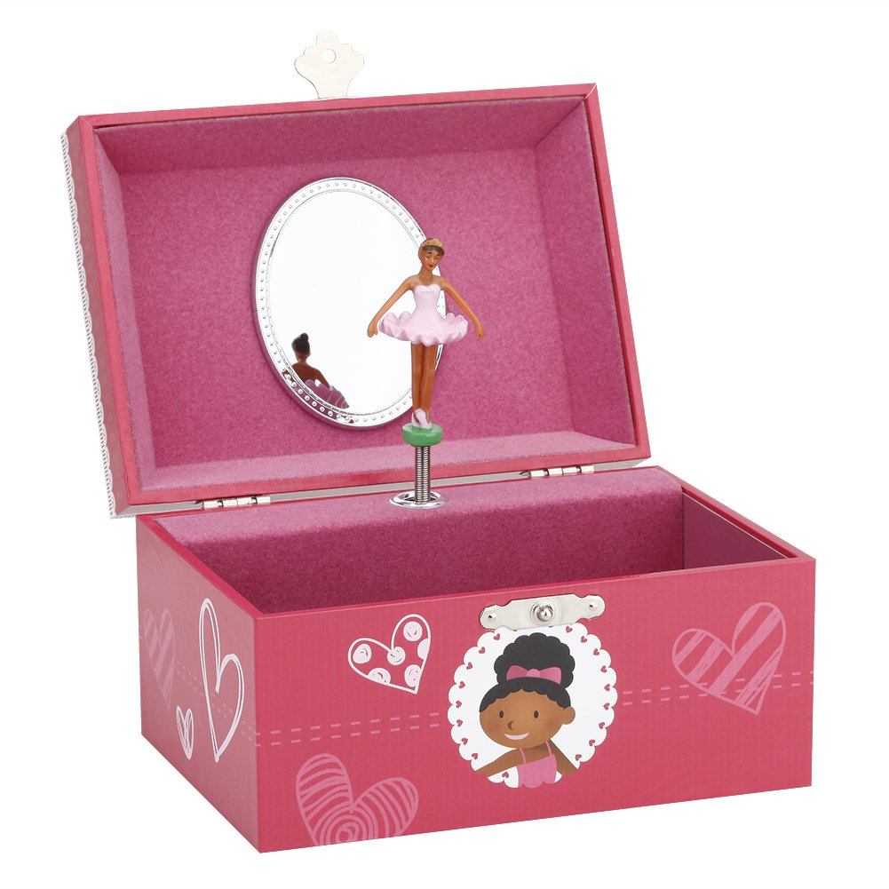 Round Rich Musical Jewelry Box, musical storage box with a twirling ballerina figurine, for little black girl, Swan Lake Tune (6'' x 4.65'' x 3.5'', brown)