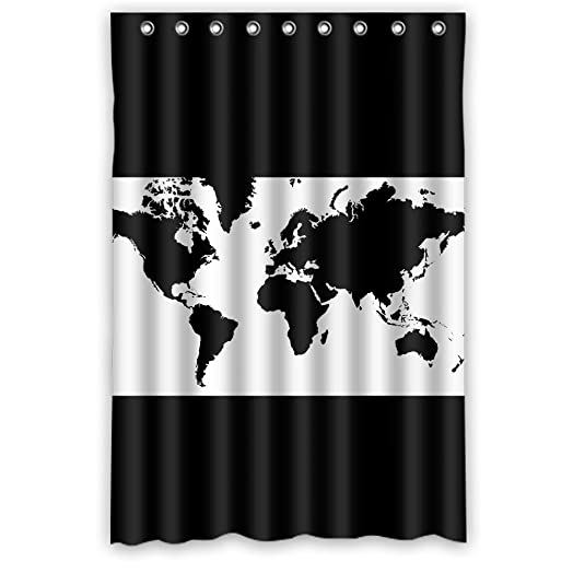 Custom black white world map shower curtainpolyester fabric custom black white world map shower curtainpolyester fabricwaterproof 48quot gumiabroncs Image collections