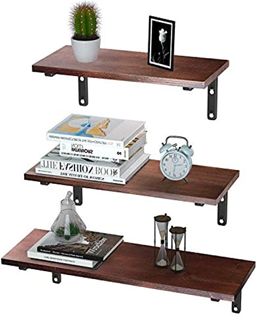Brown shadiao Floating Shelves Wall Mounted/ / Rustic Wood Wall Shelves Book Shelf Multipurpose Wall Storage Shelves Set of 3 Decor Display Shelves for Living Room//Bedroom//Bathroom//Kitchen