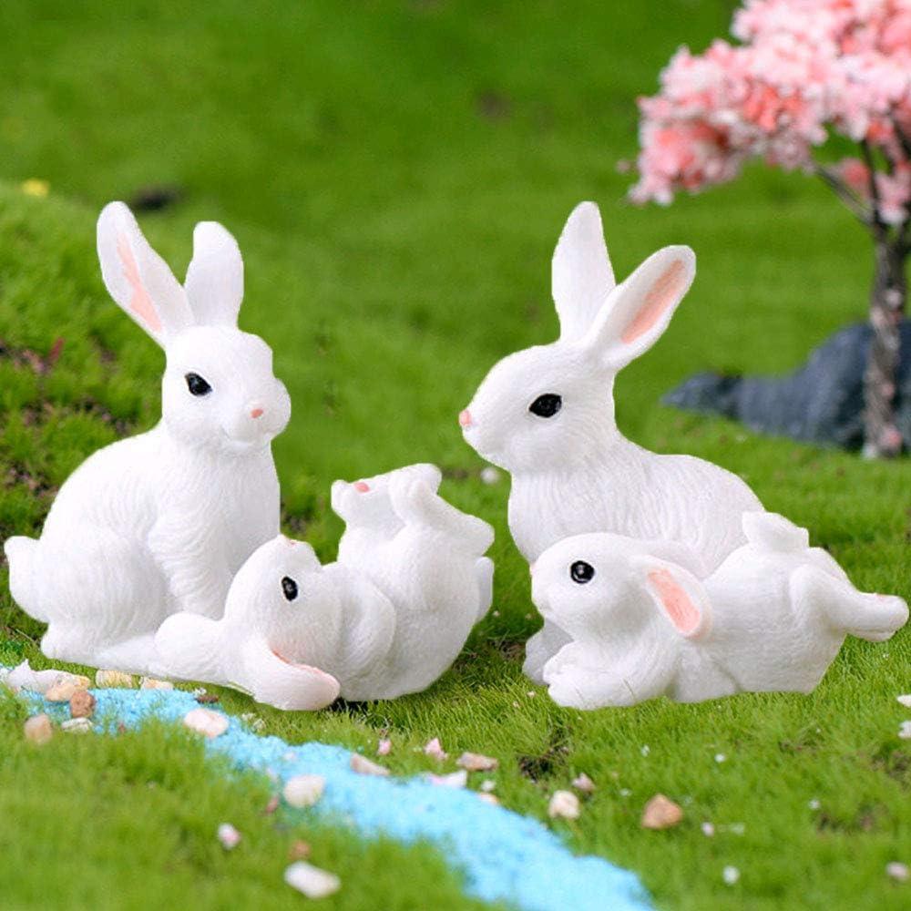 4Pcs Miniature Fairy Garden Rabbit Figurines, Rabbit Cake Cupcake Toppers, Fairy Garden Animals Rabbit for Micro Landscape Plant Pots Bonsai Home Craft Cake Decoration (4Pcs Rabbit Figurines)
