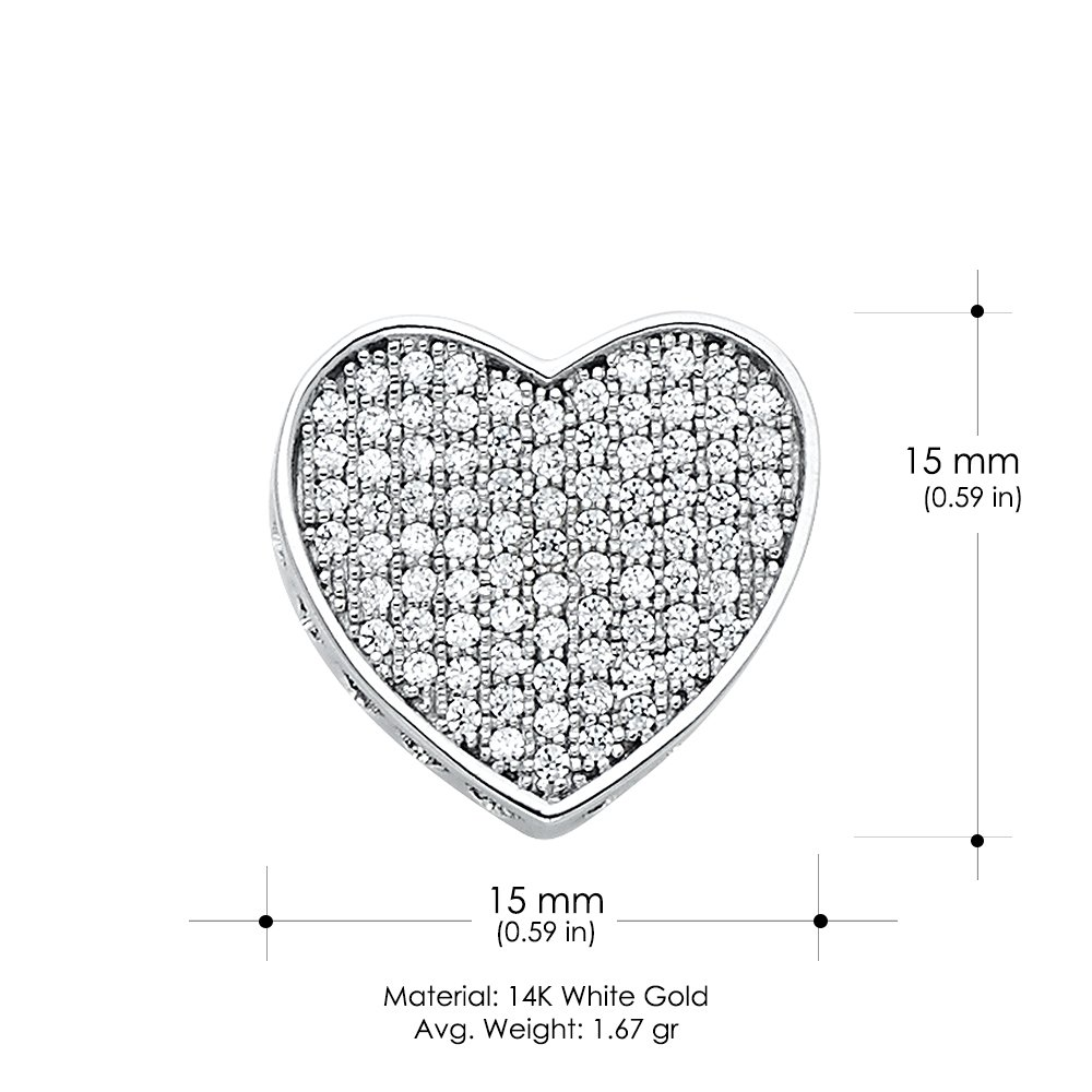 Ioka 14K White Gold Love Heart Cubic Zirconia CZ Studded Charm Pendant For Necklace or Chain