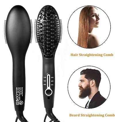 Barba Rápida Enderezadora,Barba eléctrica Peine,Plancha de pelo Multifuncional Cepillo Alisador de Pelo con 3 Temperatura Ajustable, ...