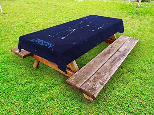 Lunarable Orion Outdoor Tablecloth, Creative Hunter Constellation Stars in Sky Astrological Illustration, Decorative Washable Picnic Table Cloth, 58
