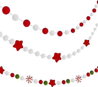Christmas Banner Christmas Tree Decor Pom Pom Garland Christmas Red White and Green Christmas Felt Ball Garland Christmas Party Decor