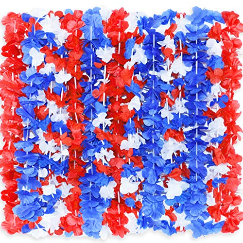 PARTYMASTER Red White and Blue Flower Leis, 4th of July Memorial Day Patriotic Decorations,12 Count]()