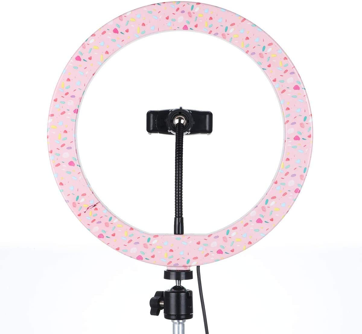 AiKuJia LED Ring Light 10 inch Selfie LED Ring Ring Light for Makeup Live Video Photography Makeup Mirror Light Pink Selfie Photography Color : Pink, Size : 26cm