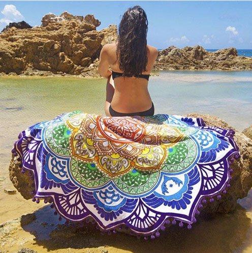 ZHUDJ Impreso Tassel Grande Redondo Playa Cojines ...