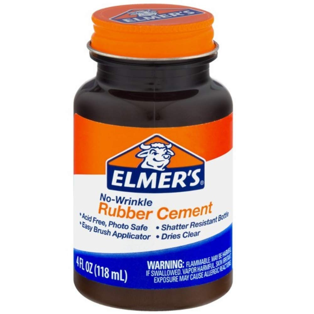 Elmer's No-Wrinkle Rubber Cement, Clear, Brush Applicator 4 oz ( Pack of 12) by Elmer's