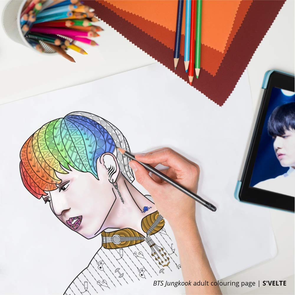 Kpop Coloring: BTS Jungkook digital colouring page for adults. A fan art printable by S' VELTE.
