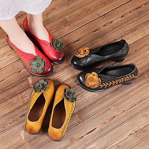 34 Shoes Heel Chunkly Comforty Hollow 40 5cm Flowers Dress Slip Casual Genuine On Size Shoes Leather Red Eu Women Toe Round Loafer Embroidery RxCTwq