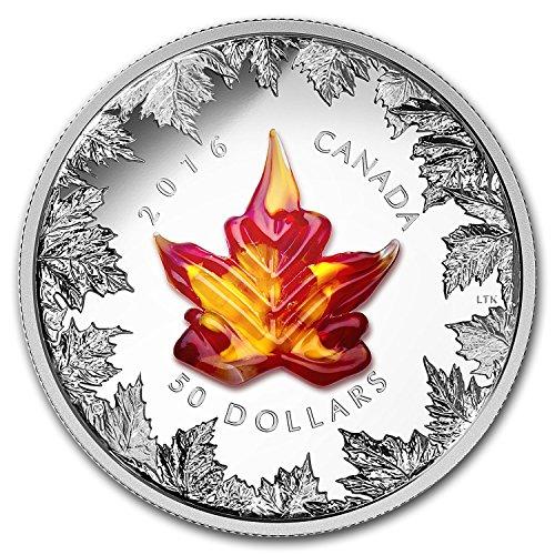 - 2016 CA Canada 5 oz Silver $50 Murano Maple Leaf: Autumn Radiance Silver Brilliant Uncirculated
