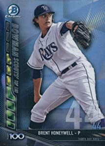 2017 Bowman Chrome Scouts Top 100#BTP-44 Brent Honeywell Tampa Bay Rays Baseball Card