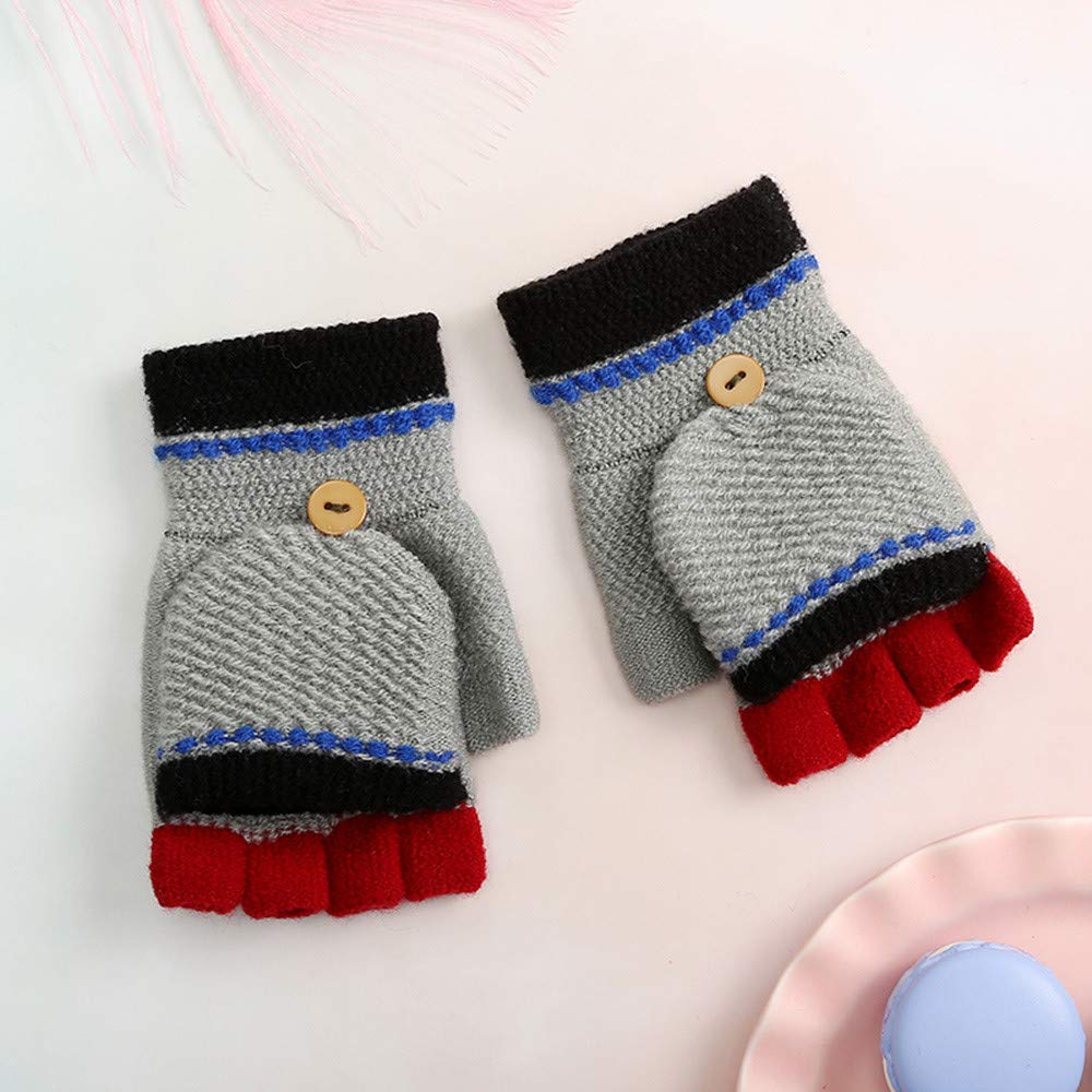 TM Children Girls Boys Winter Candy Color Patchwork Keep Warm Mittens Gloves for 0-3 Years Old Little Kids Winter Warm Gloves,Colorful