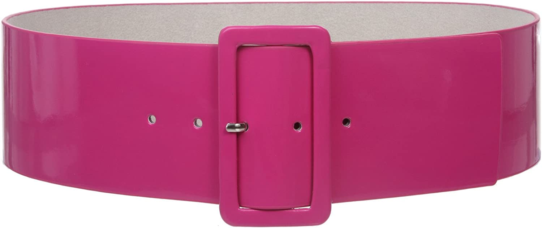 Ladies High Waist Patent Leather Wide Fashion Square Belt