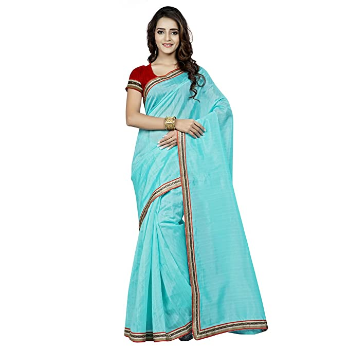 1e3a1df09cb92 Beautiful Sky Blue Plain Bhagalpuri Silk Saree with unstitched Blouse   Amazon.in  Clothing   Accessories