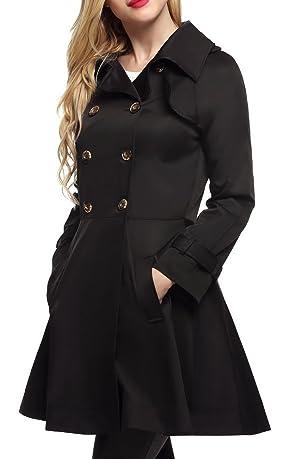 OURS Women's Lapel Double Breasted Trech Coat Long Overcoat Outwear Jacket