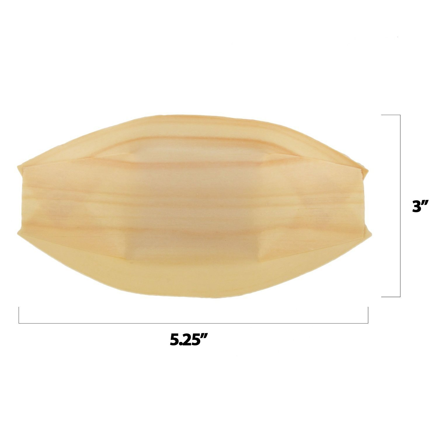 BambooMN Brand - Disposable Wood Boat Plates / Dishes, 5.25'' Long x 3'' Wide x 1'' High, 100 Pieces by BambooMN (Image #2)