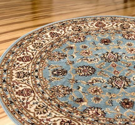 Antique Classic Light Blue 7 10 Round Area Rug Oriental Floral Motif Detailed Classic Pattern Persian Living Dining Room Bedroom Hallway Home Office Carpet Easy Clean Traditional Soft Plush Quality