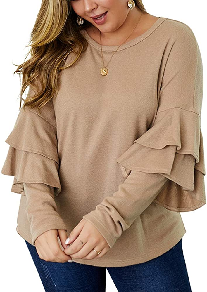 Solid Color Pullover Tunic Blouse KINGLEN Womens Top Womens Loose Tops Shirt