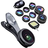 KobraTech 9 in 1 Cell Phone Lens Kit - Super Wide Angle Lens, Kaleidoscope Lens, Macro Lens, Fisheye Lens, Telephoto Lens, CPL & Wide Angle iPhone Lens + Bluetooth Remote Shutter & LED Light